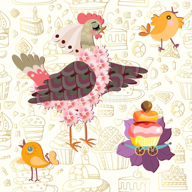 Seamless ornament with a chicken calling for peepers to dine a cupcake. Beautiful card for children.  vector illustration