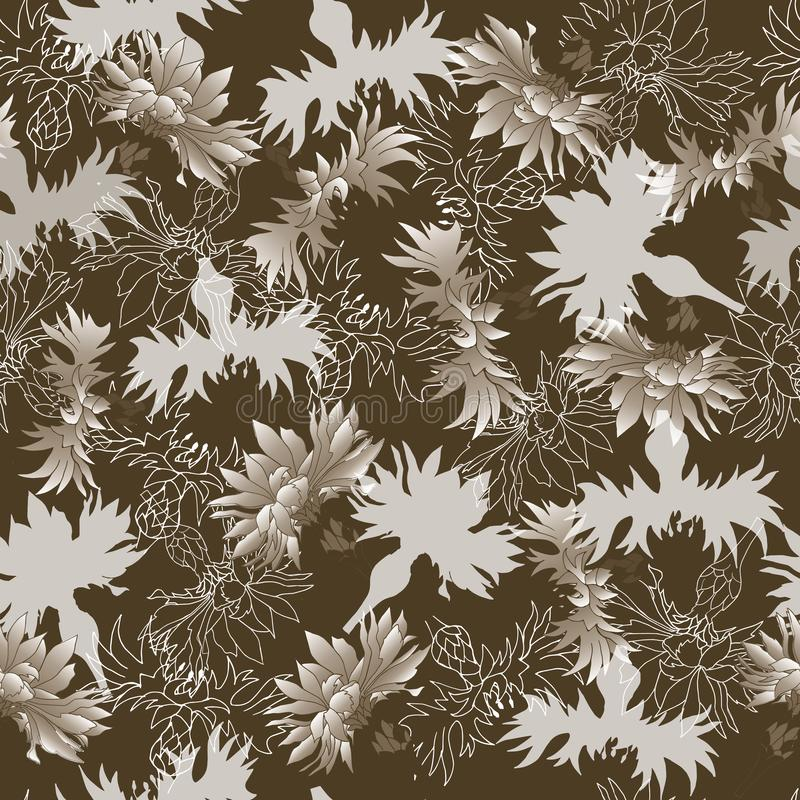 Seamless ornament of flowers on a brown background. Floral  vintage texture for decoration of fabric, tile and paper. royalty free illustration
