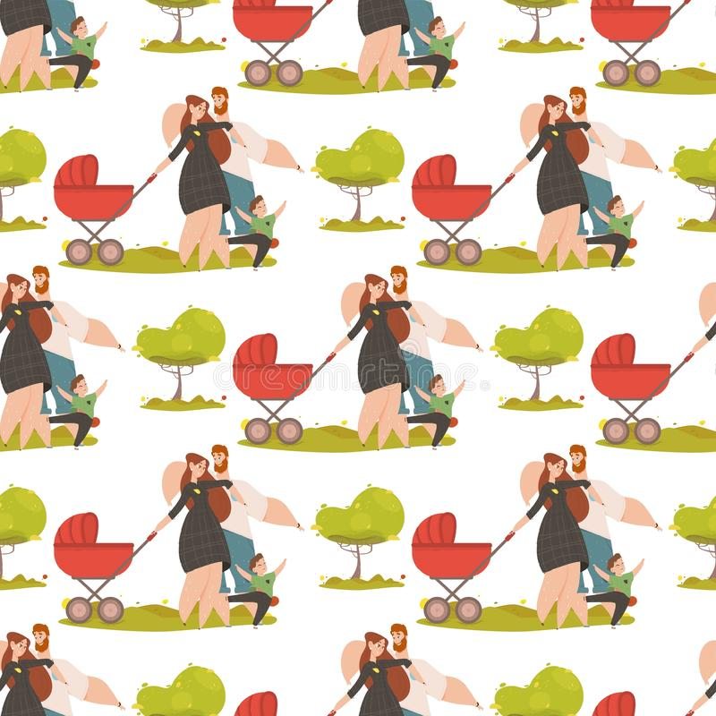 Seamless Ornament of Happy Family Kids Pattern royalty free illustration