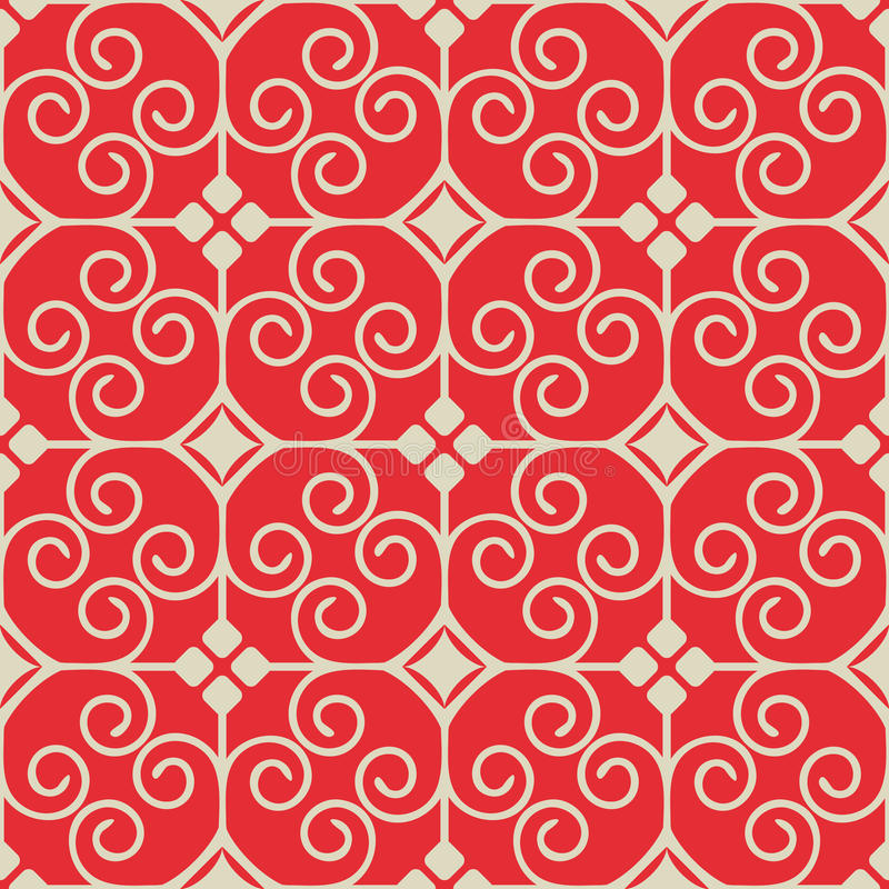 Seamless ornament. In red colorway stock illustration