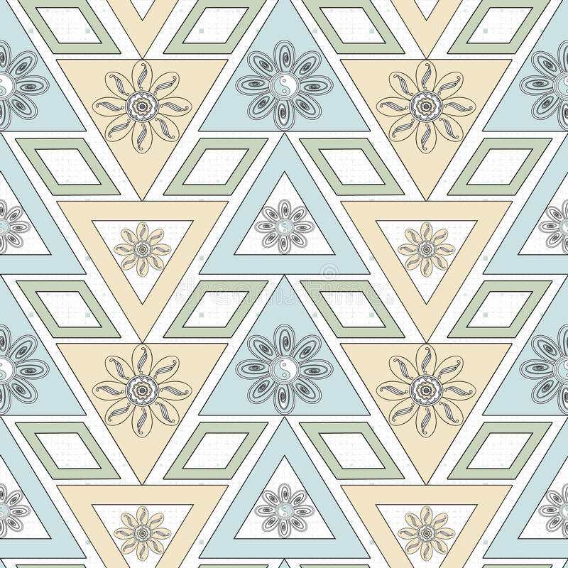 Seamless ornament. Stylish geometric seamless pattern with flowers repeating texture vector illustration