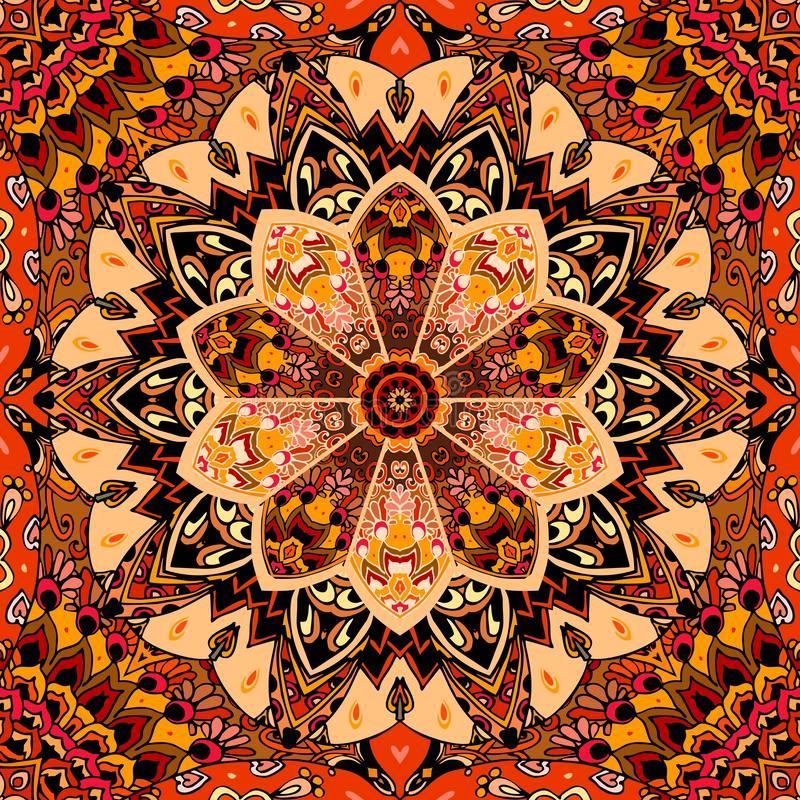 Seamless ornamental pattern with patchwork mandala flower in warm tones. Print for fabric, carpet, cushion, wrapping design.  stock illustration