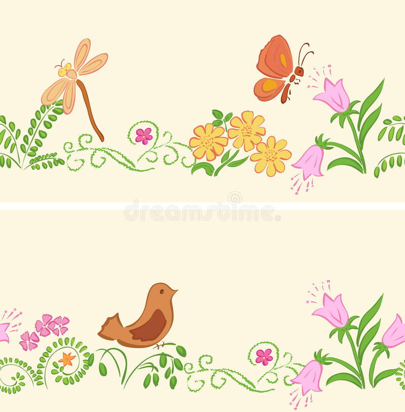 Seamless Vector Ornaments With Flora And Fauna Stock Vector