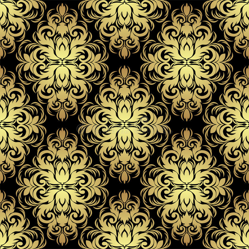 Seamless ornate floral Wallpaper: gold on black. royalty free illustration