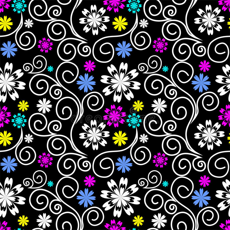 Seamless ornate Pattern with Swirls and colorful Flowers stock illustration
