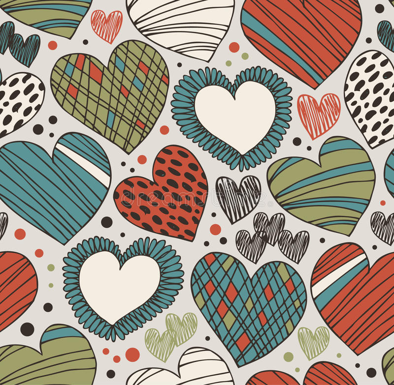 Free Seamless Ornate Pattern With Hearts. Endless Hand Drawn Cute Background Stock Photos - 42270373