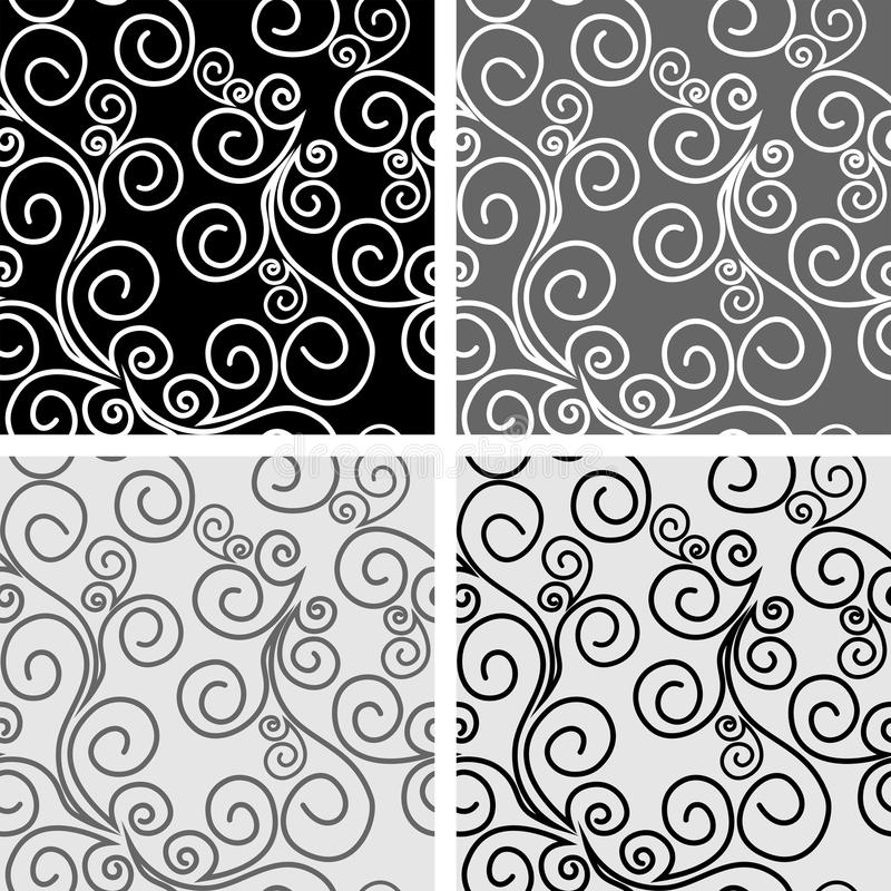 Seamless ornate Patterns with Swirls - set vector illustration