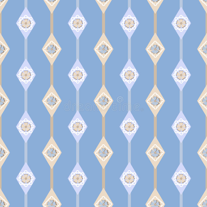 Seamless ornate simple floral pattern with geometric elements ba royalty free illustration