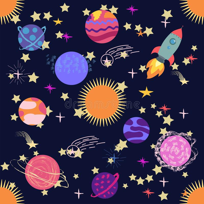 Free Seamless Outer Space Ufo Rocket Science Kids Background Pattern Royalty Free Stock Photography - 195289707