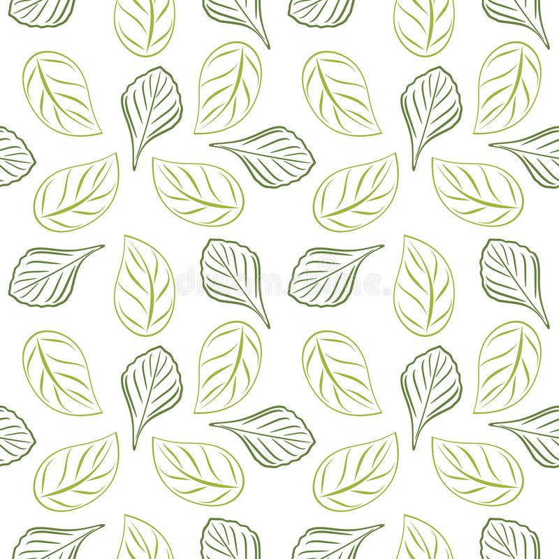 Seamless outlined leafy background for wrap design. Green color royalty free stock image