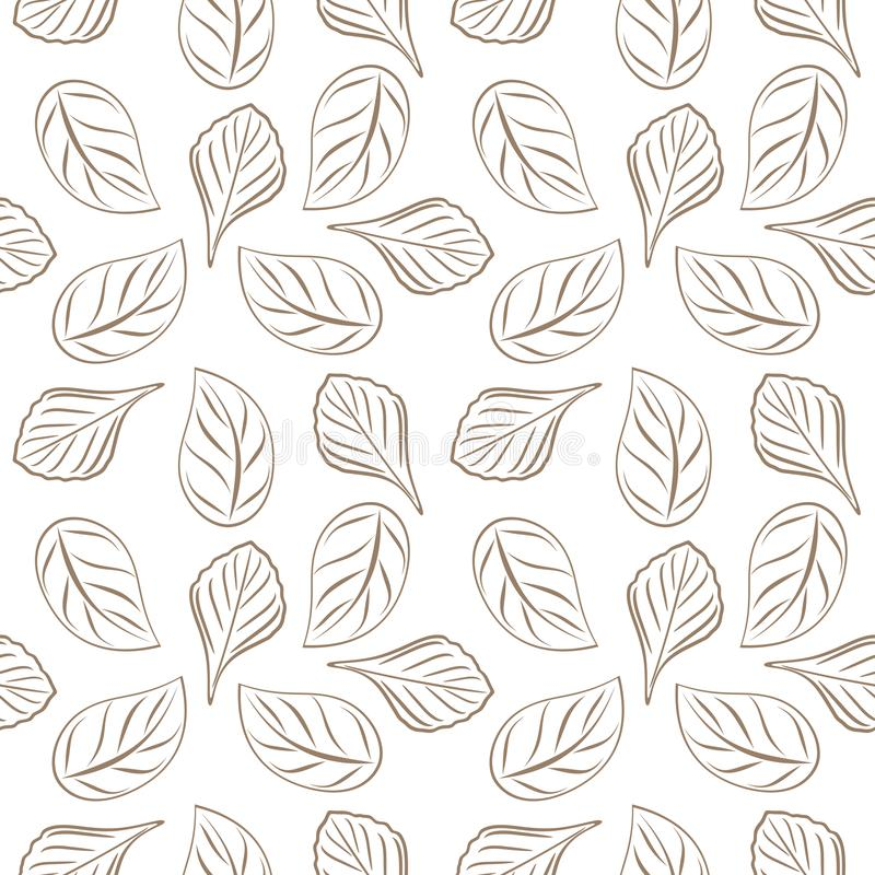 Seamless outlined leafy background for wrap design royalty free stock images