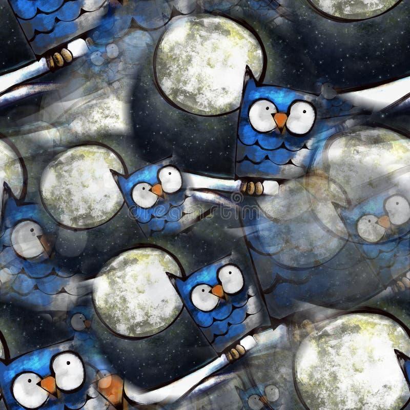 Seamless Owl Painting stock illustration
