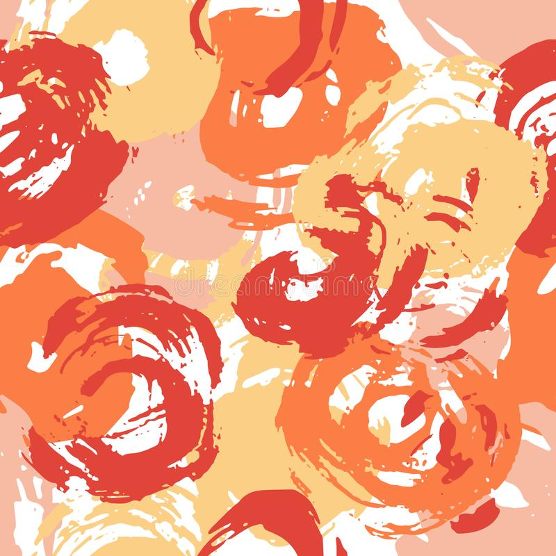 Seamless Paint Strokes Pattern Yellow Orange and Red Circles royalty free stock photography