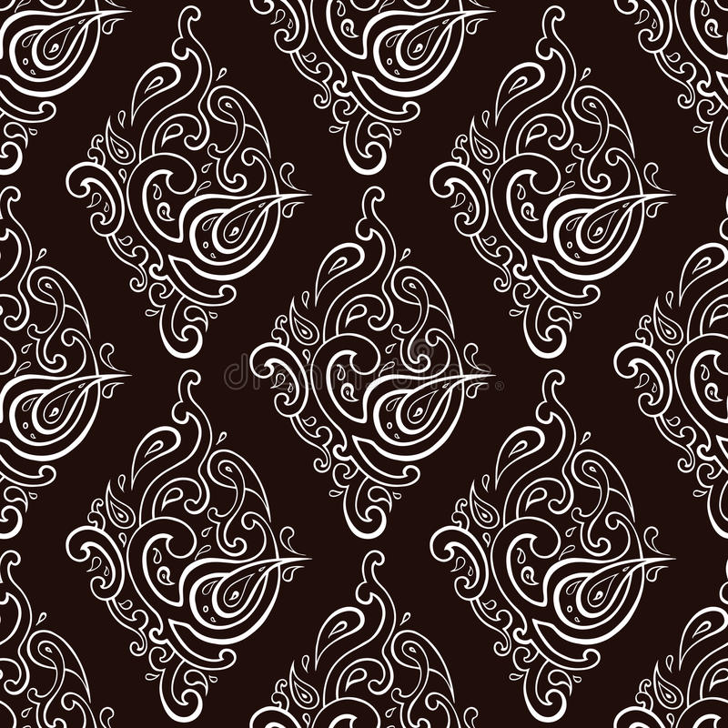 Seamless Paisley background. Elegant Hand Drawn pattern vector illustration