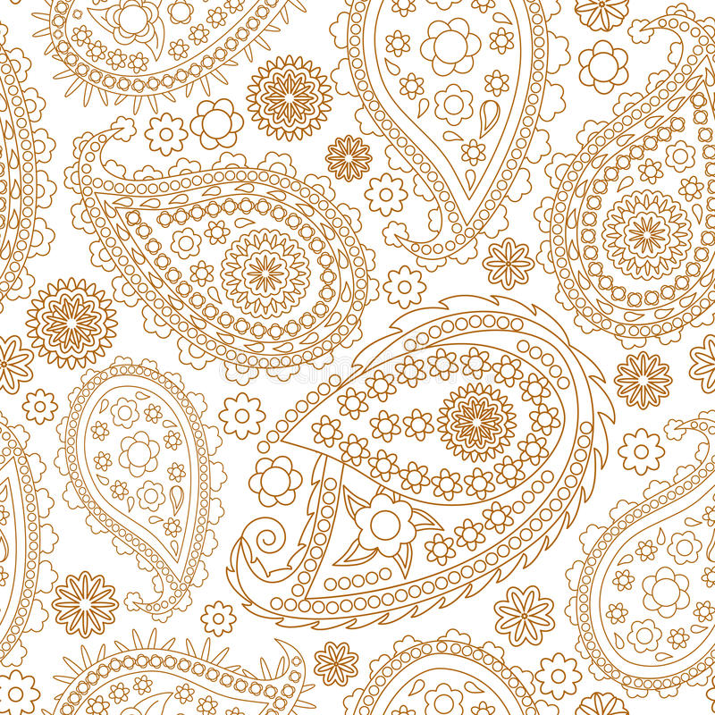 Free Seamless Paisley Background. Elegant Hand Drawn Vector Pattern. Royalty Free Stock Image - 65849416
