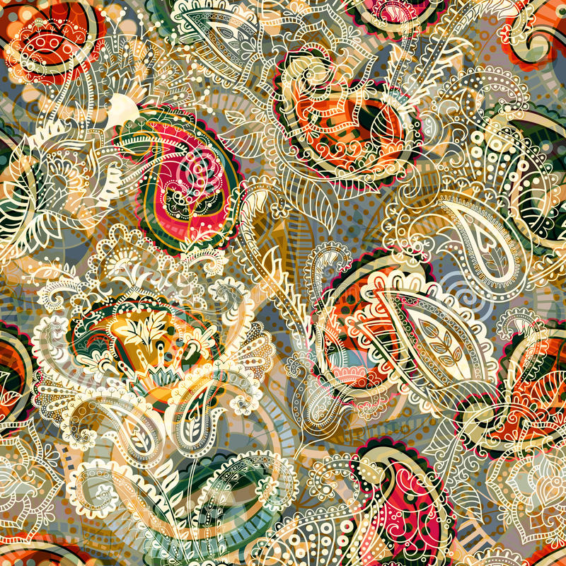 Seamless Paisley background, floral pattern. Colorful ornamental backdrop. Color wallpaper with decorative flowers stock illustration