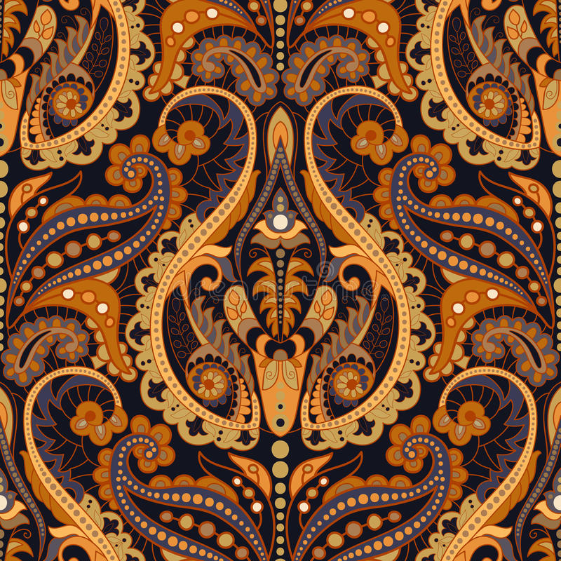 Seamless Paisley background, floral pattern. Colorful ornamental. Background. Indian ornament stock illustration