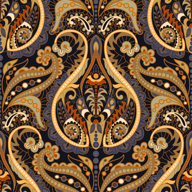 Seamless Paisley background, floral pattern. Colorful ornamental. Background. Indian ornament vector illustration