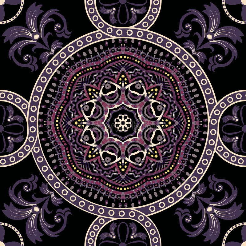 Seamless Paisley background, floral pattern. Colorful ornamental Indian ornament vector illustration