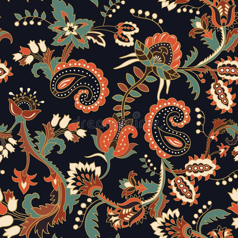 Seamless Paisley background, floral pattern. Colorful ornamental background royalty free illustration