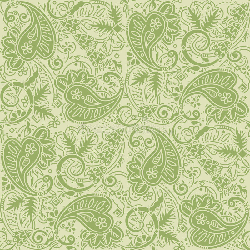 Seamless paisley background of pale green and tan colors. Seamless (easy to repeat) paisley pattern background (swatch, wallpaper, tile, print, texture), tan and stock illustration