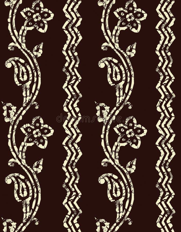 Seamless paisley border batik design background royalty free illustration