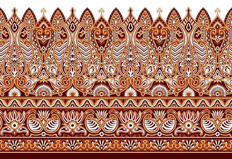 Seamless paisley border on white background. For wallpapers,tiles, ceramic prints and textile fabrics vector illustration