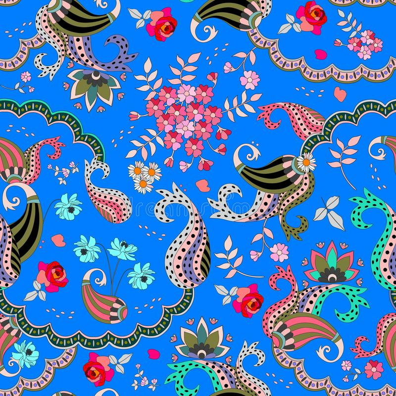 Seamless paisley floral pattern on blue background in vector. Rose, cosmos flowers,daisy and leaves and fantasy buta ornament stock illustration