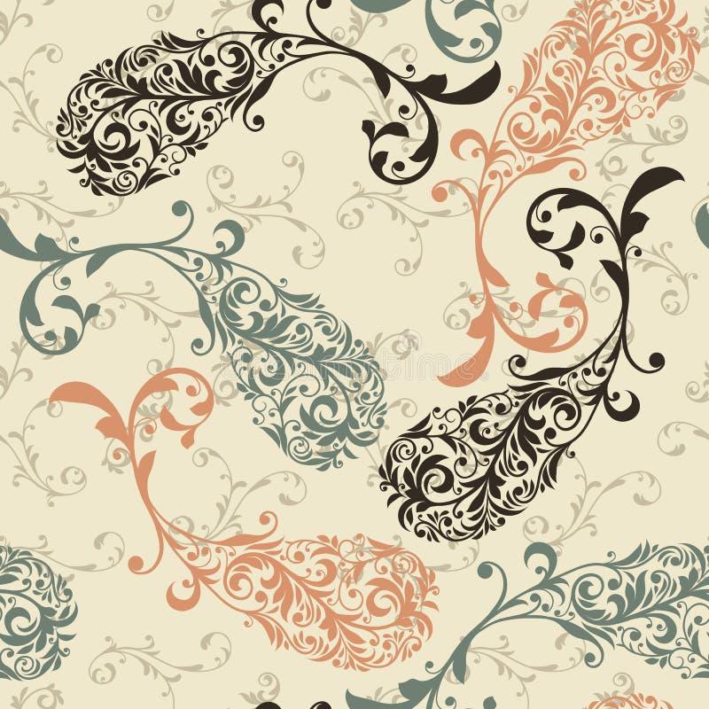 Seamless Paisley mönstrar royaltyfri illustrationer