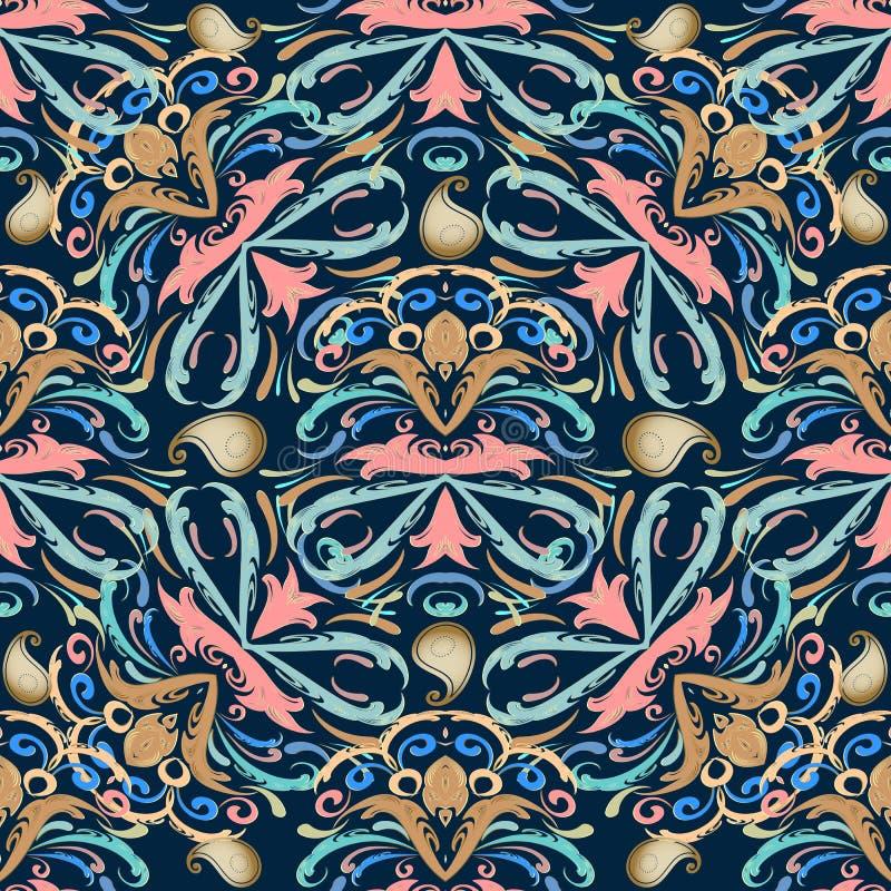 seamless paisley modell Blom- vektormörker - blå bakgrundsintelligens vektor illustrationer