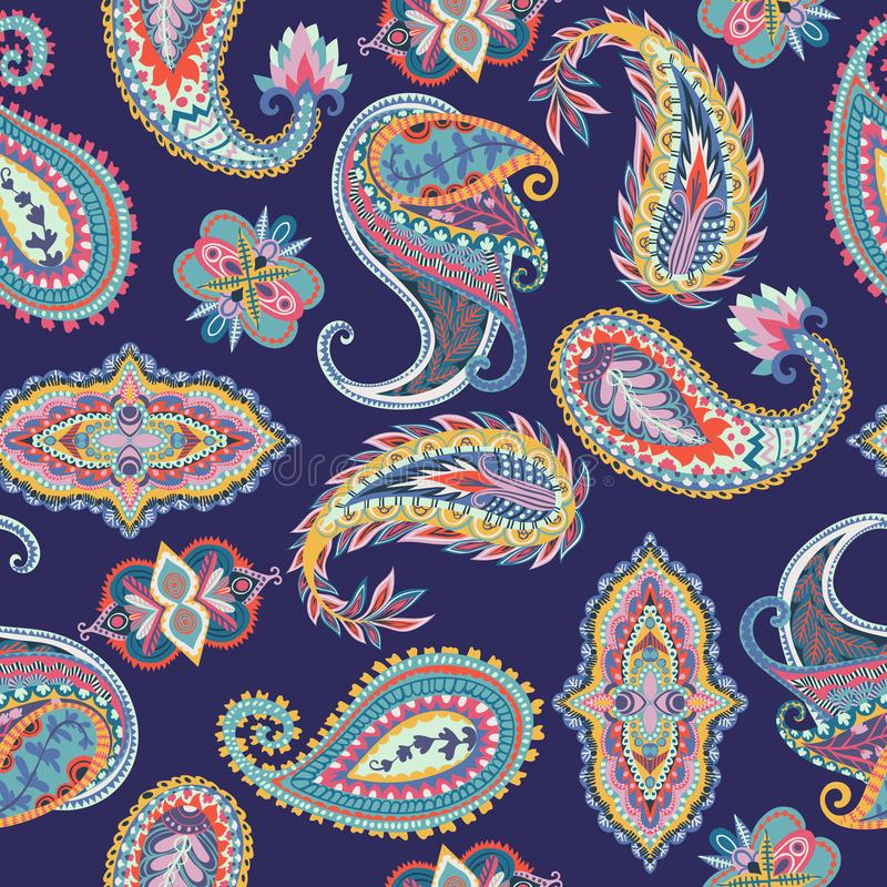 seamless paisley modell Färgrik blom- prydnad orientalisk design royaltyfri illustrationer