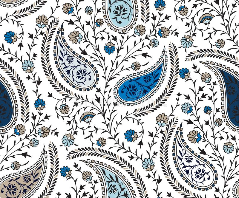 Seamless paisley pattern. Ethic paisley blue and crime beautiful unique paisley stock illustration