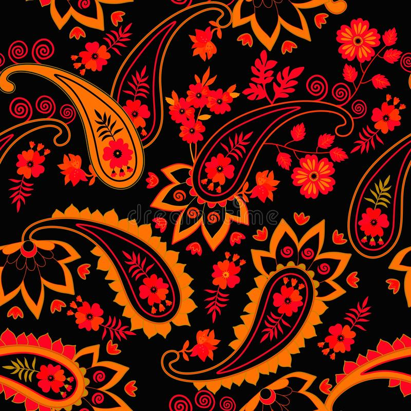 Seamless paisley pattern in ethnic style. Russian, persian, indian motifs. Print for fabric.  stock illustration
