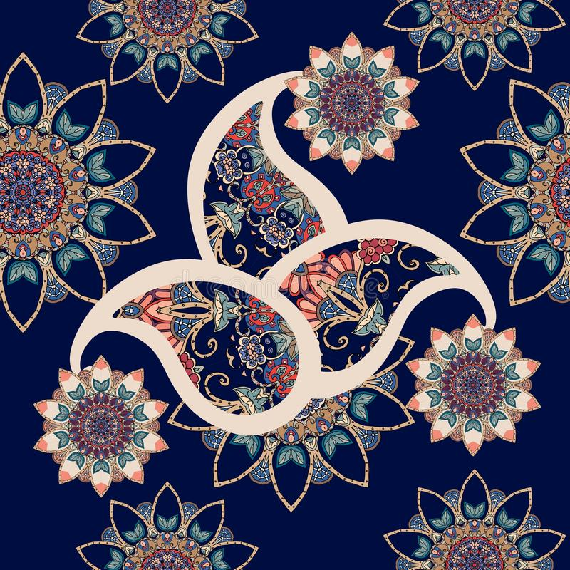 Seamless paisley pattern with flowers mandalas in indian style royalty free illustration