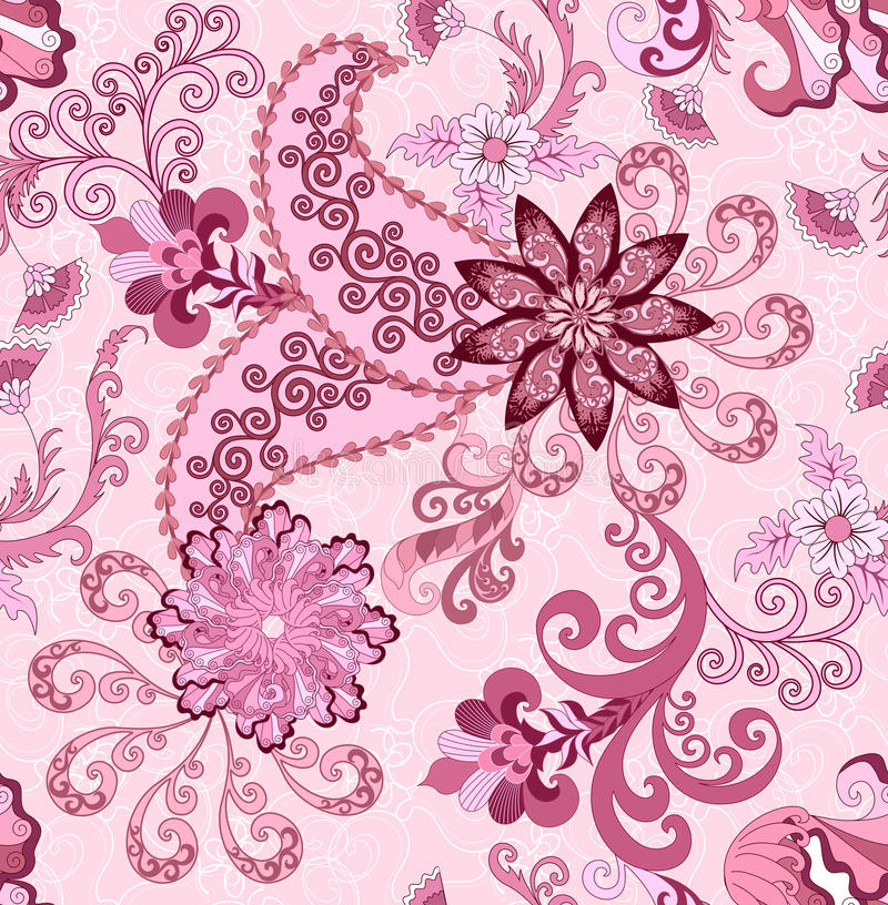 Free Seamless Paisley Pattern In Pink And Burgundy Tones Royalty Free Stock Images - 44048099