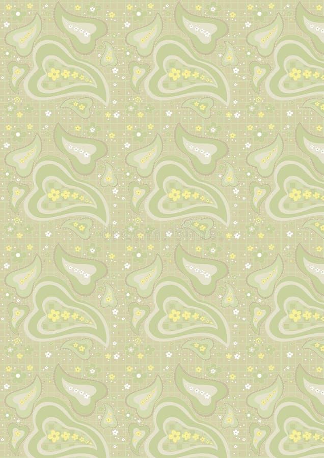 Seamless paisley pattern on light green background