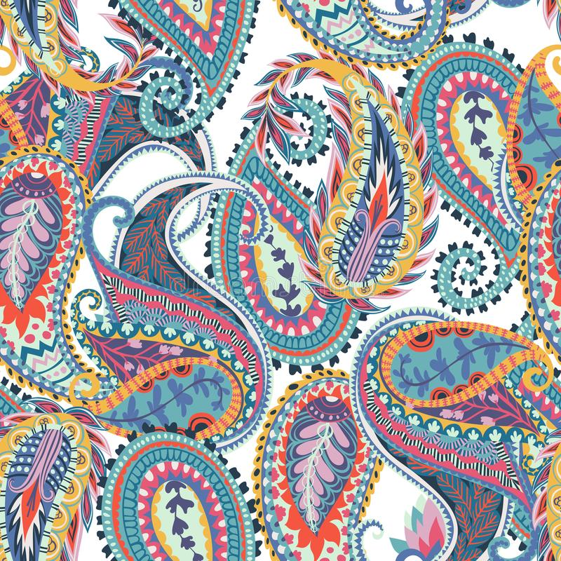 Seamless paisley pattern. Oriental design for fabric, prints, wrapping paper, card, invitation, wallpaper. stock illustration