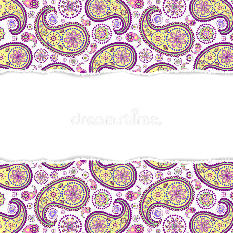 Seamless paisley pattern with torn paper royalty free illustration