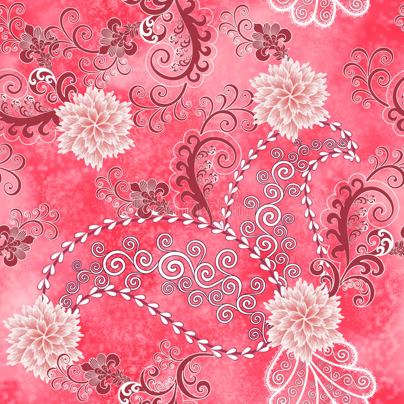 Free Seamless Paisley Pattern With Light Pink Carnations Stock Photography - 44048252