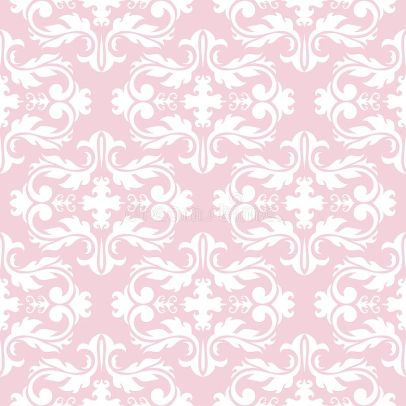 Download Seamless Pale Pink Pattern With White Wallpaper Ornaments Stock Vector