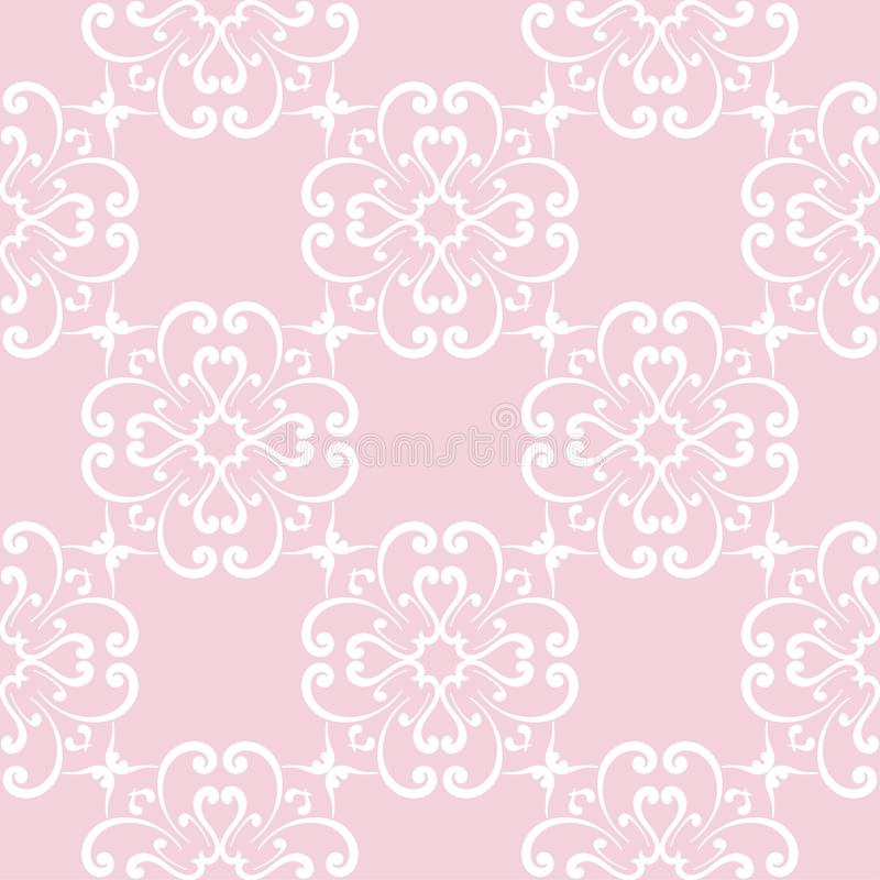 Download Seamless Pale Pink Pattern With White Wallpaper Ornaments Stock Illustration