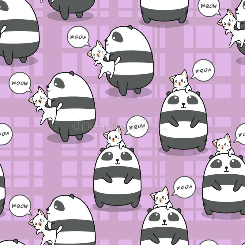 Seamless panda and cat is best friend of each other pattern. Seamless panda and cat is best friend of each other pattern in cartoon style vector illustration