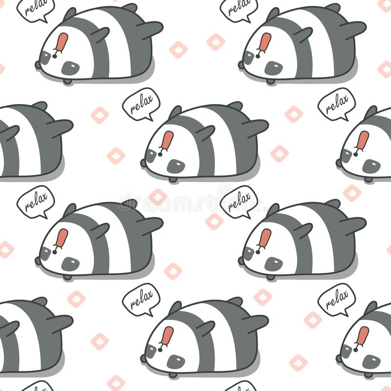 Seamless panda is lazy pattern. Seamless panda is lazy pattern in cartoon style royalty free illustration