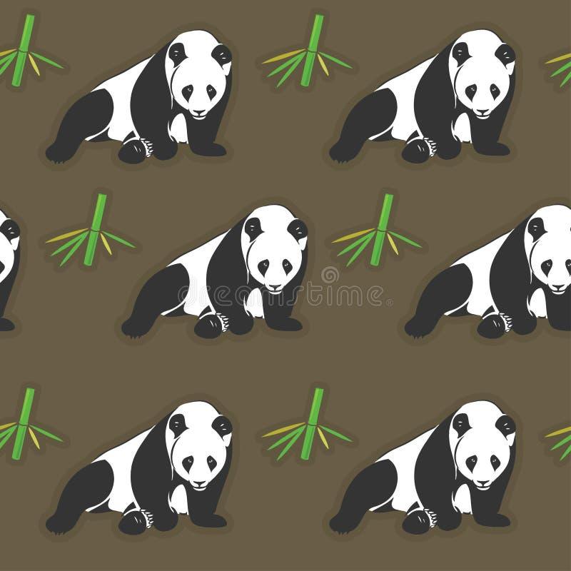 Seamless panda- och bambuwallpaper royaltyfri illustrationer