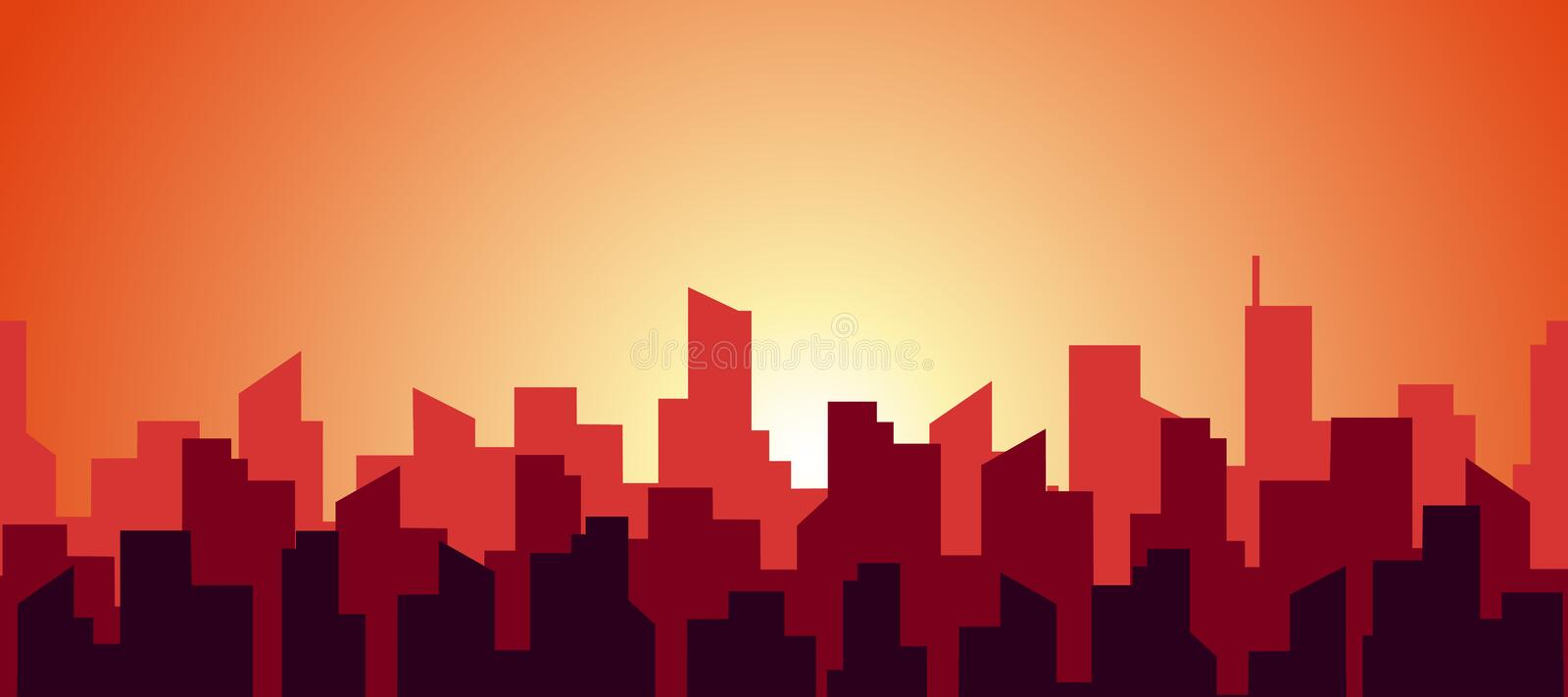Seamless panorama of a hot morning in a big city. The silhouette of the roofs of skyscrapers in red and orange warm. Sunny color. Vector abstract flat endless stock illustration