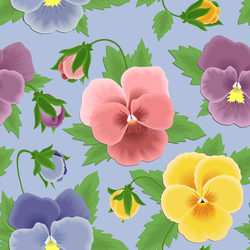 Seamless pansies pattern stock illustration