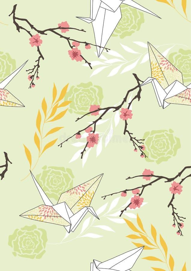 seamless paper modell för kranar royaltyfri illustrationer