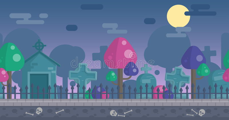 Download Seamless Parallax Ready Graveyard Background Stock Vector