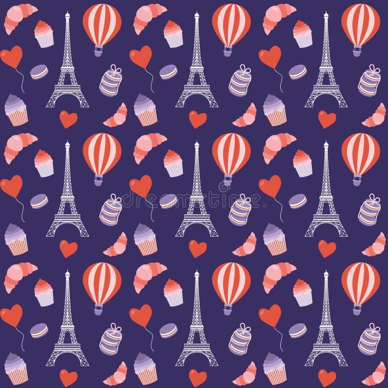 Seamless Paris mönstrar med eiffel står hög vektor illustrationer