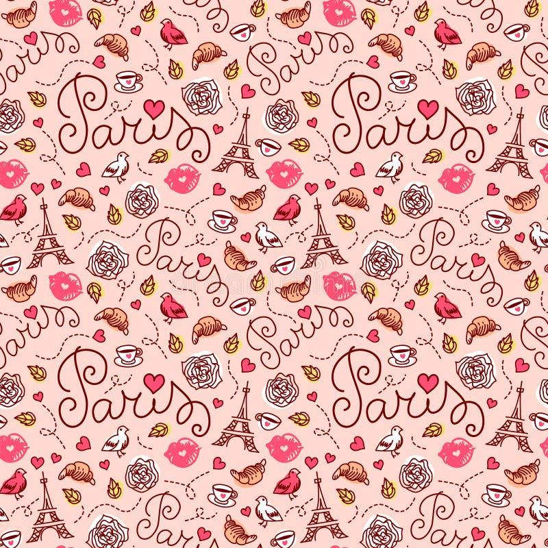 Seamless Paris pattern. Hand drawn illustration. stock illustration